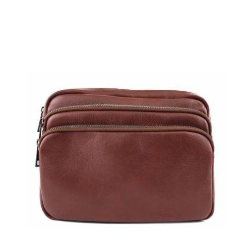Кожаная сумка унисекс BC607 коричневая