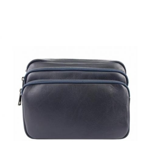 Кожаная сумка унисекс BC607 синяя