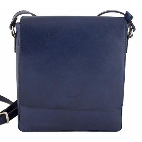 Мужская кожаная сумка BC610 тёмно-синяя