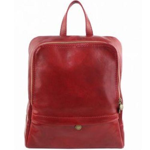 Кожаный рюкзак BC711 красный