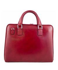 Кожаный портфель BC801 красный
