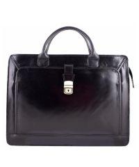 Кожаный портфель BC802 черный