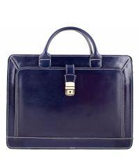 Кожаный портфель BC802 синий