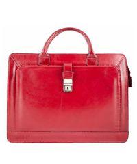 Кожаный портфель BC802 красный