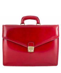 Кожаный портфель BC803 красный