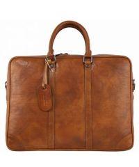 Кожаный портфель BC805 рыжий
