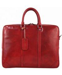 Кожаный портфель BC805 красный