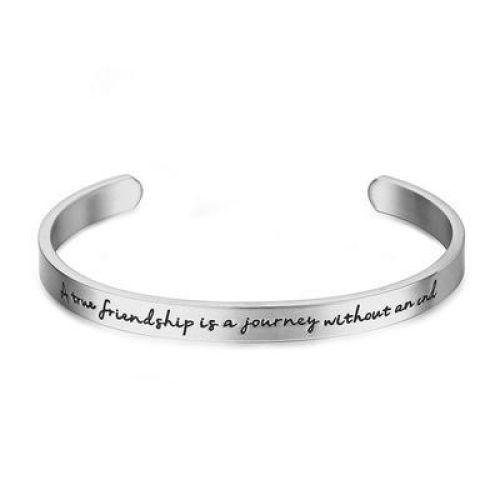 "Жесткий браслет ""A true friendship is a journey without an end"" серебристый"