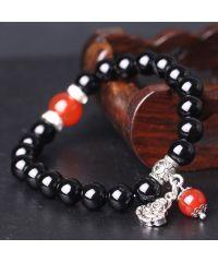 Браслет из натурального камня Агат черный с Буддой