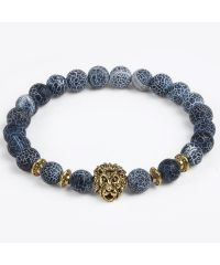 Браслет из натурального камня Синий Агат лев золотистый