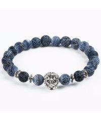 Браслет из натурального камня Синий Агат лев серебристый