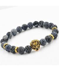 Браслет из натурального камня Синий Агат рычащий лев золотистый