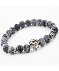 Браслет из натурального камня Синий Агат рычащий лев серебристый