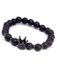 Браслет из Вулканической Лавы с черной короной в камнях