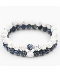 Парные браслеты Синий агат и Кахолонг