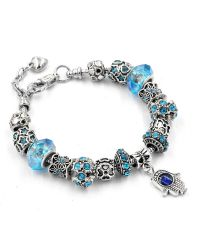 Браслет Pandora рука фатимы голубой