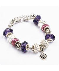 Браслет Pandora лапки фиолетовый
