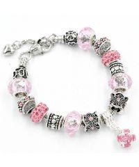 Браслет Pandora с подвеской розовый