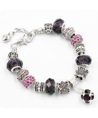 Браслет Pandora с подвеской фиолетовый