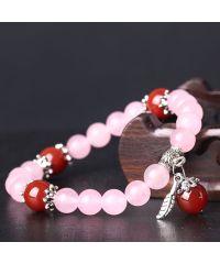 Браслет из натурального камня Кварц розовый с перышком