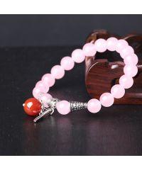 Браслет из натурального камня Кварц розовый с пером