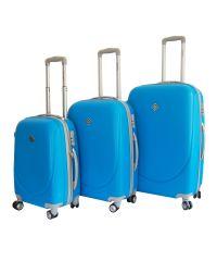 Набор чемоданов Bonro Smile 3 штуки с двойными колесами голубой (110072)