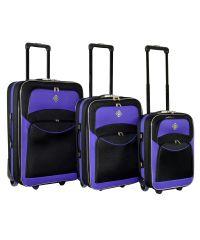 Набор чемоданов Bonro Best черно-фиолетовый (110137)