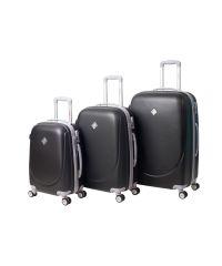 Набор чемоданов Bonro Smile 3 штуки с двойными колесами черный (110209)