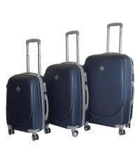 Набор чемоданов Bonro Smile 3 штуки с двойными колесами темно-синий (110071)
