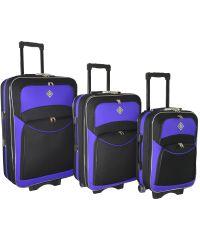 Набор чемоданов Bonro Style 3 штуки черно-фиолетовый (102464)