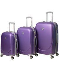 Набор чемоданов Bonro Smile 3 штуки с двойными колесами фиолетовый (110074)