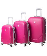 Набор чемоданов Bonro Smile 3 штуки с двойными колесами малиновый (110210)