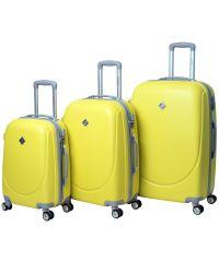 Набор чемоданов Bonro Smile 3 штуки с двойными колесами желтый (110065)