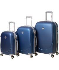 Набор чемоданов Bonro Smile 3 штуки с двойными колесами синий (110067)