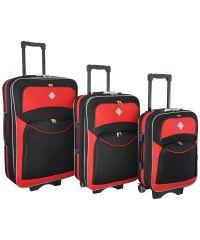Набор чемоданов Bonro Style 3 штуки черно-красный (102463)