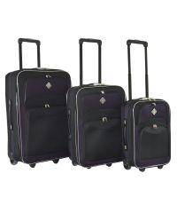 Набор чемоданов Bonro Best черно-темно фиолетовый (110144)