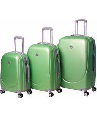 Набор чемоданов Bonro Smile 3 штуки с двойными колесами салатовый (110068)