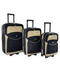 Набор чемоданов Bonro Style 3 штуки черно-кремовый (110111)