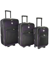 Набор чемоданов Bonro Style 3 штуки черно-темно фиолетовый (110113)