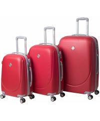Набор чемоданов Bonro Smile 3 штуки с двойными колесами красный (110069)