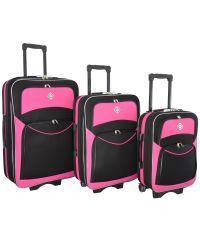 Набор чемоданов Bonro Style 3 штуки черно-розовый (110114)