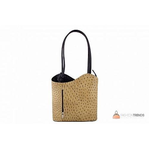 Итальянская кожаная сумка DIVAS Patty M8878 тауп с черным