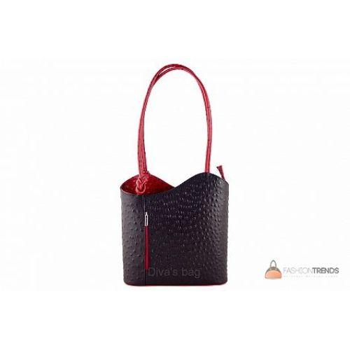 Итальянская кожаная сумка DIVAS Patty M8878 черная с красным