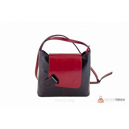 Итальянская кожаная сумка DIVAS Isabella S6927 черная с красным