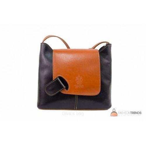 Итальянская кожаная сумка DIVAS Isabella S6927 черная с коньячным