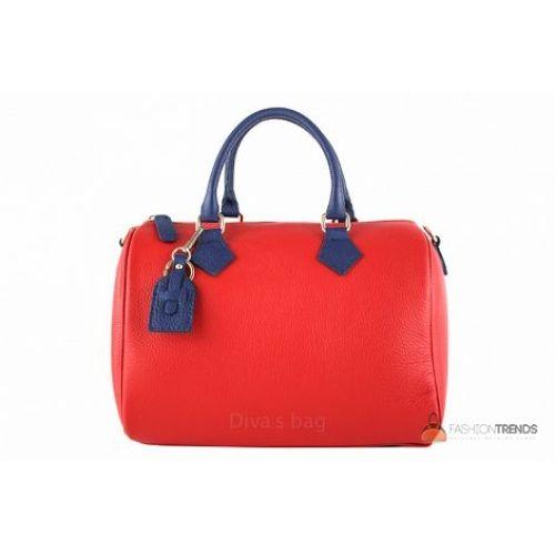 Итальянская кожаная сумка DIVAS DORETTA M8873 красная с синим