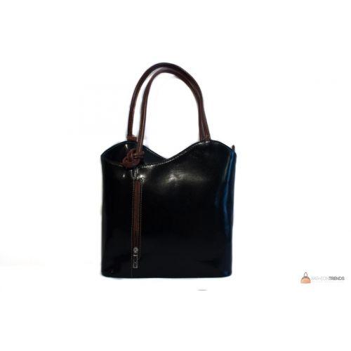 Итальянская кожаная сумка DIVAS CHIARA S6833 черная с коричневым