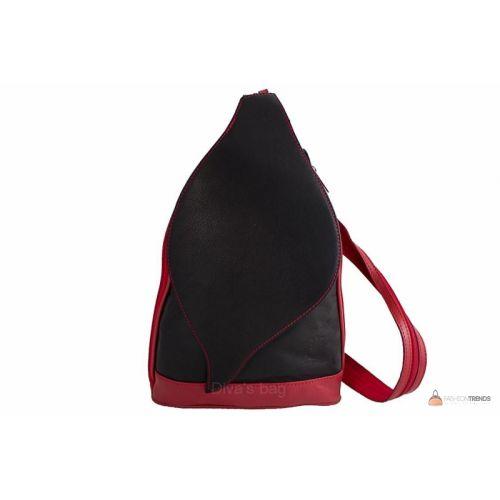 Итальянская кожаная сумка DIVAS BLOSSOM S6924 черная с красным