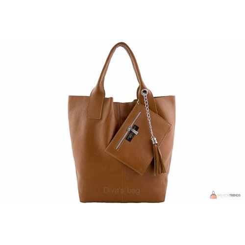 Итальянская кожаная сумка DIVAS CRISTINA S6905 коньячная