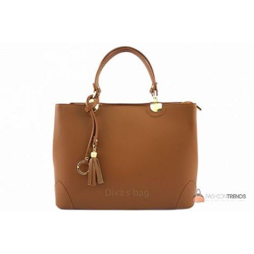 Итальянская кожаная сумка DIVAS Grazia M8938 коньячная